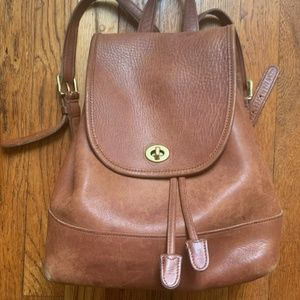 Vintage Coach tan leather backpack (9791)